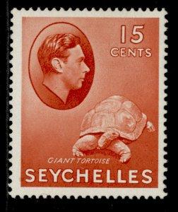 SEYCHELLES GVI SG139a, 15c brown-carmine, M MINT. Cat £28. CHALKY
