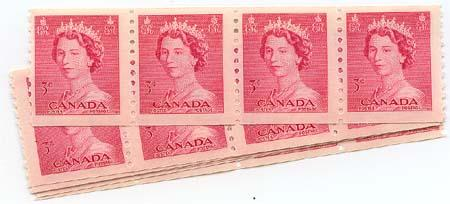 Canada - 1953 3c QE Karsh Coil 7 strips of 4 mint #332 F-F+NH