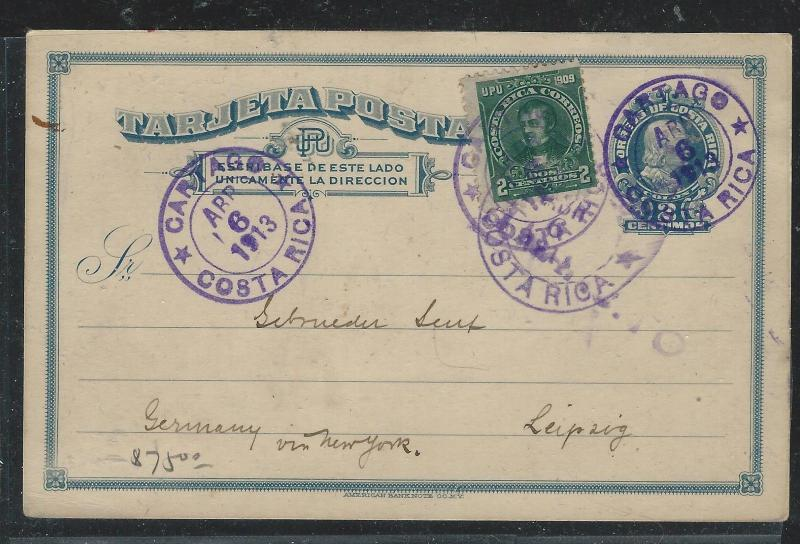 COSTA RICA (PP2706B) 1913 2C PSC UPRATD 2C CARTAGO TO GERMANY
