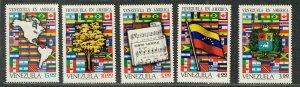 Venezuela Sc#996-1000 M/NH/VF, Flags, Cv. $35