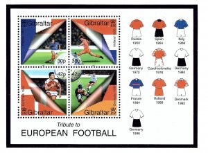 Gibraltar 835a MNH 2000 European Soccer S/S   (KA)