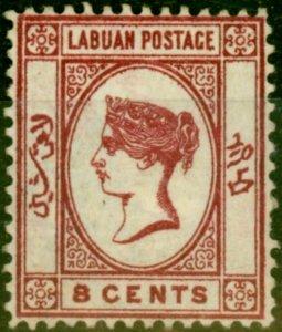 Labuan 1883 8c Carmine SG18 Good Mtd Mint