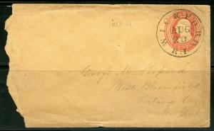 US WICKFORD, RI 8/20/CA1853-55 3-C STATIONERY ENVELOPE TO W. BLOOMFIELD AS SHOWN