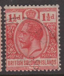 British Solomon Islands 1924 1 1/2d Scarlet KGV Sc#23 Used