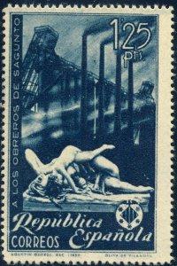 SPAIN / ESPAÑA 1938 Ed.774/Mi.731 1pta25 blue Obrejos de Sagunto NoGum