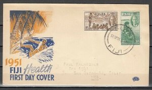Fiji, Scott cat. B1-B2. Children & Rugby Player issue. First day cover. ^