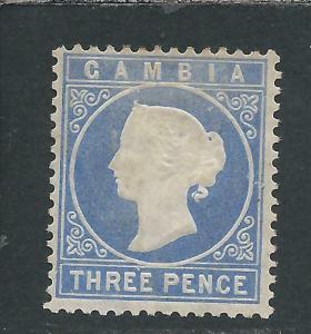 GAMBIA 1880-81 3d PALE DULL ULTRAMARINE MM SG 14cB CAT £70