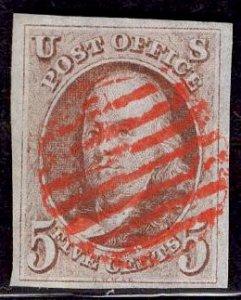 US Stamp #1 Red Brown USED w/ + $50 Orange Red Cancel  SSCV $400. WIDE Margins