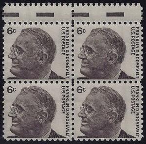 1284 - Gutter Snipe Error / EFO Block of 4 FDR Franklin D. Roosevelt MNH