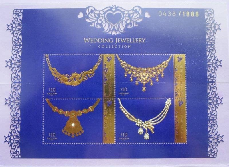 Singapore 2017 Jewellery MNH SS with 22K gold foil hot-stamping or precious odd