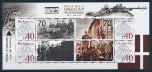 [75381] Gambia 2008 World War II Operation Weserübung Denmark Norway Sheet MNH