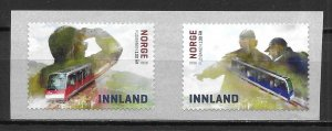 Norway 1853a 100th Floibanen Funicular pair S/A MNH