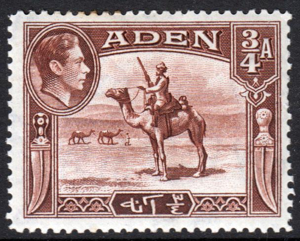Aden KGVI 1939 3/4a Red-Brown SG17 Mint Hinged