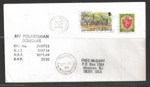 1989 Paquebot Cover, Isle on Man stamps mailed in Falmouth, Cornwall, UK
