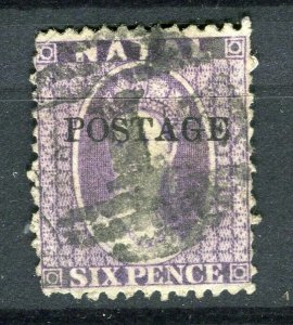 NATAL; 1870s classic QV POSTAGE Optd. issue used 6d. value