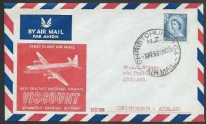 NEW ZEALAND 1958 first flight cover Christchurch - Auckland...............58157