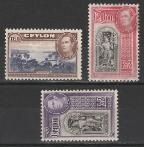 CEYLON 1938 KGVI PICTORIAL 1R AND BOTH 2R