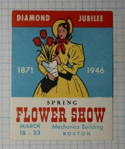 Diamond Jubilee Spring Flower Show Boston 1946 Company Brand Ad Poster Stamp