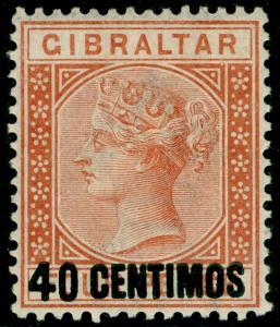 GIBRALTAR SG19, 40c on 4d Orange Brown, LH MINT. Cat £55.