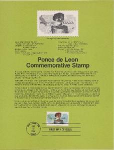 US SP597 Ponce de Leon Souvenir Page #2024