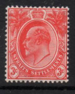 Straits Settlements Sc 130 1908 3c Edward VII stamp mint