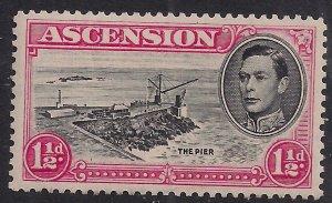Ascension Island 1938 - 53 KGV1 1 1/2d Black & Rose Carmine MM SG 40f ( A645 )