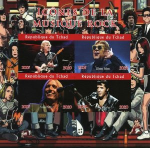Chad Rock Music Stamps 2020 MNH Elton John Elvis Presley Tom Petty 4v IMPF MS II