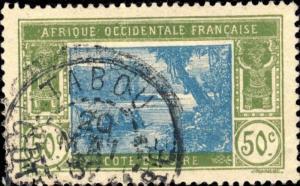 CÔTE-D'IVOIRE - 1937 - CAD TABOU / COTE-D'IVOIRE DOUBLE CERCLE SUR N°69