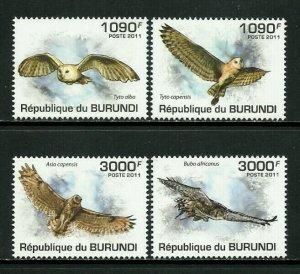 Burundi MNH 877-80 Owls 2011 SCV 13.50