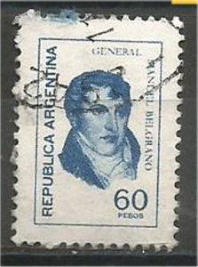 ARGENTINA, 1977, used 60p, Manuel Belgrano Scott 1101