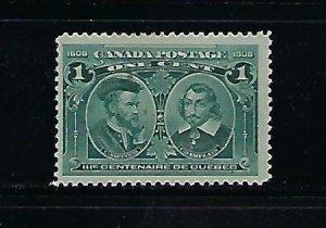 CANADA SCOTT #97 1908 QUEBEC TERCENTENARY ISSUE 1 CENT (GREEN) - MINT HINGED
