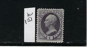 US #151 1870-71 12 CENTS (HENRY CLAY-DULL VIOLET) - MINT NO GUM