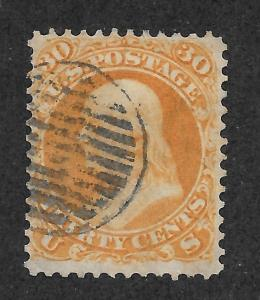 71 Used 30c. Franklin,  scv: $200,  Fancy Grid Cancel, Free, Insured Shipping