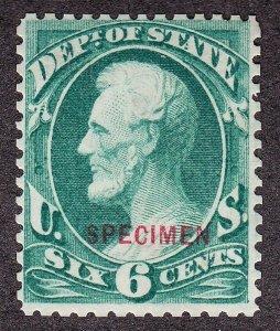 US O60S 6c Dept. of State Official Specimen Fine NGAI SCV $350 (004)