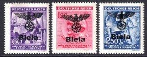 BOHEMIA & MORAVIA 85-87 BIELA OVERPRINTS OG NH U/M F/VF TO VF BEAUTIFUL GUM