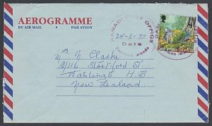 SOLOMON IS 1997 50c on formular aerogramme RANADI POST OFFICE cds to NZ.....J628