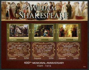 HERRICKSTAMP NEW ISSUES GUYANA Sc.# 4474 William Shakespeare Sheetlet #2