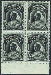 NIGER COAST 1897 QV 1/- BLOCK WMK CROWN CA PERF 13.5 - 14
