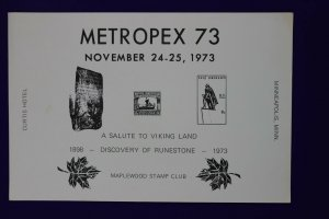 METROPEX 1973 Minneapolis MN Maplewood stamp club Philatelic Souvenir card page