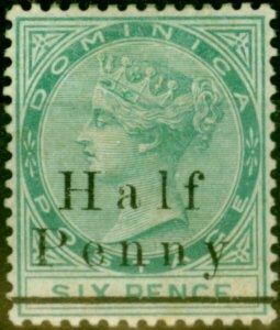 Dominica 1886 1/2d on 6d Green SG17 Fine Mtd Mint Stamp