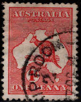AUSTRALIA  Scott 2  Kangaroo Map stamp