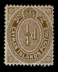 CAYMAN ISLANDS EDVII SG38, ¼d brown, M MINT.