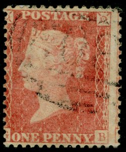 SG38, 1d pale red PLATE 63, LC14, FINE USED. Cat £50+.