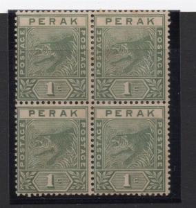 Perak 1892 Tiger Issue Fine Mint Unused No Gum Block of 4 1c. 117682
