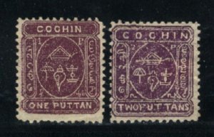 India-Cochin #2-3   Mint NG 1892 PD