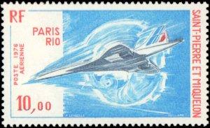 St. Pierre & Miquelon #C59, Complete Set, 1976, Aviation - Airplanes, Never H...
