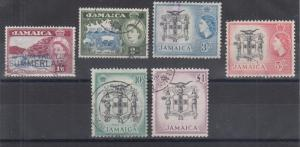 Jamaica Sc 169-174 used 1956 QEII definitives, high values to long set of 16