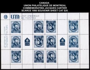 CANADA UNION PHILATELIQUE MONTREAL 1980 SOUVENIR SHEET #cc1320 CV $20 CINDERELLA