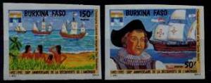 Burkina Faso 944-45 MNH imperf. Ships/Columbus