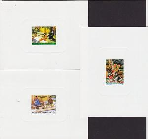 FRENCH POLYNESIA 1986 Weaving set of 3 deluxe proofs........................4041
